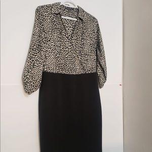 Suzy Shier Cheetah Print Cocktail Blouse Dress